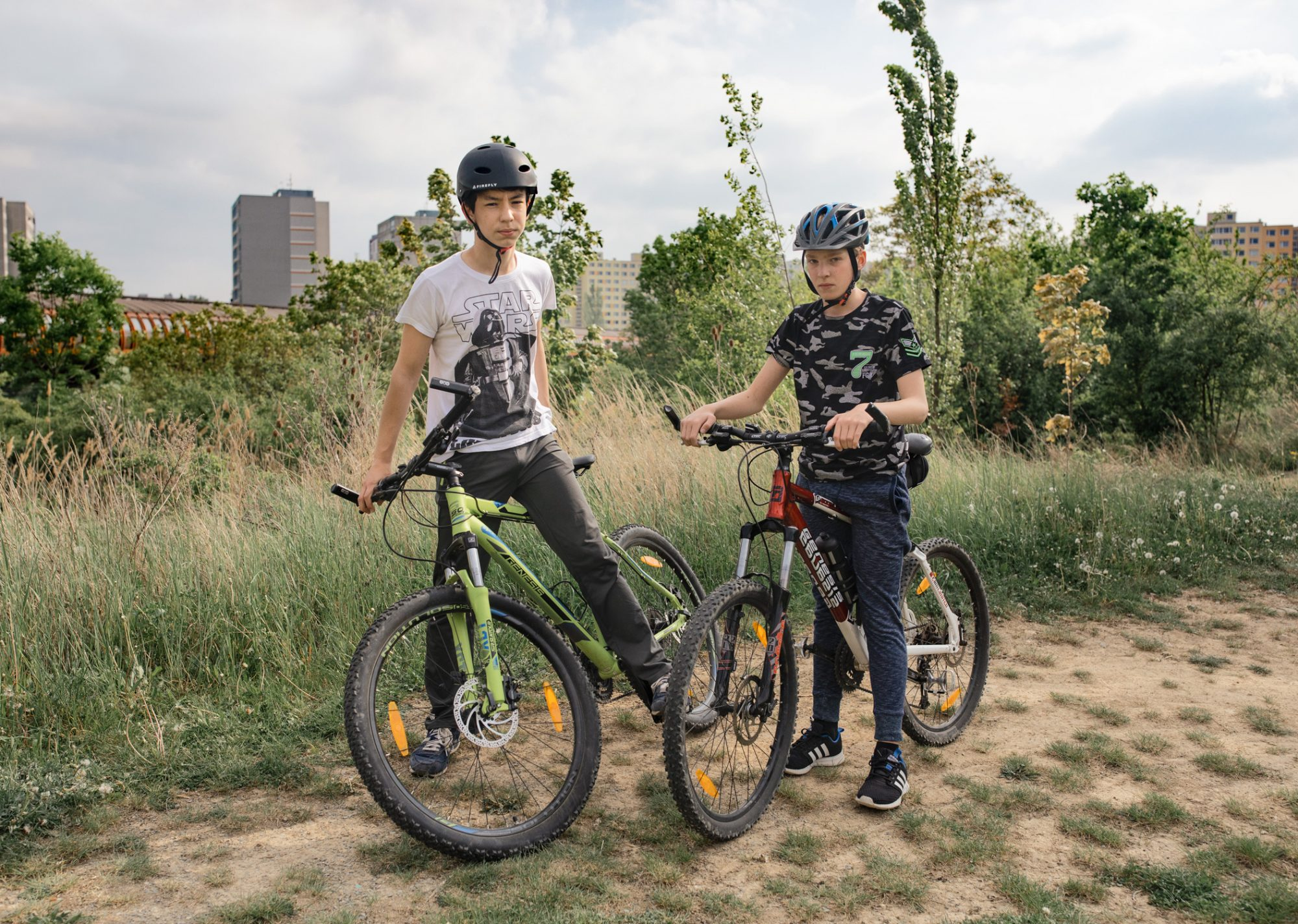 two boys on bikes in Nove Butovice