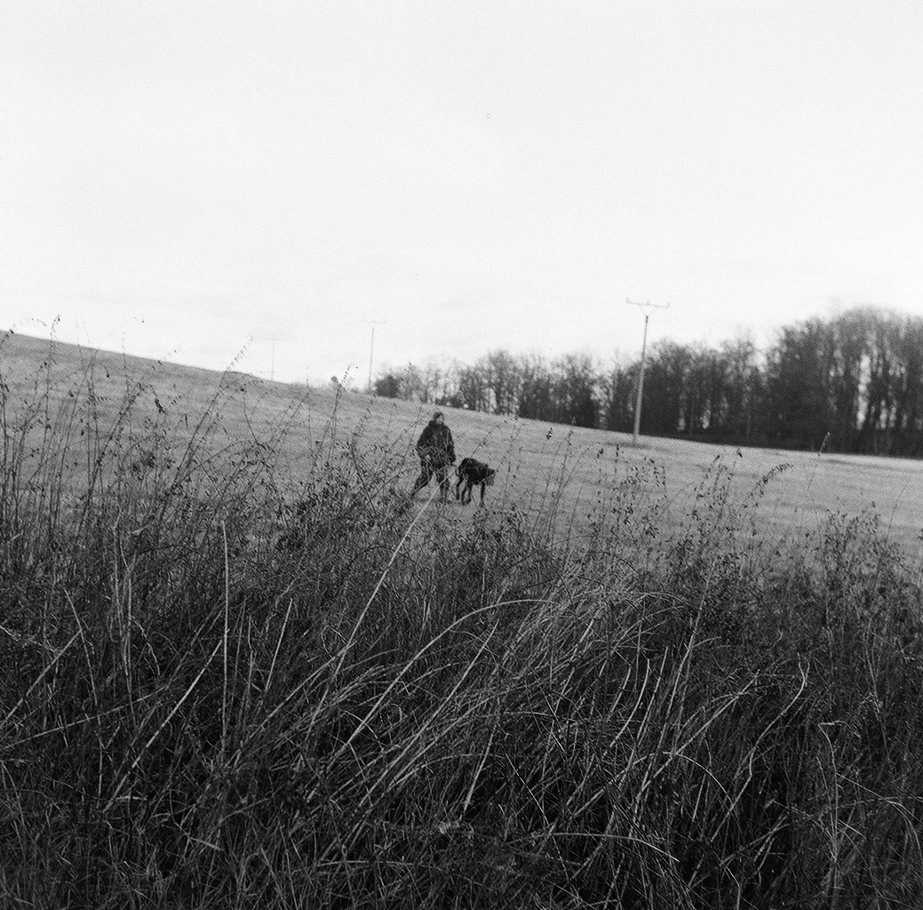 Woman walking dog down a slope in the winter behind tall grass